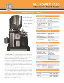 Datasheet for power pallet